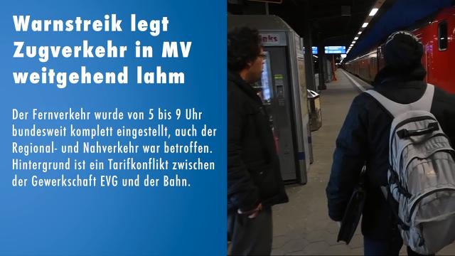 Warnstreik legt Zugverkehr in MV lahm  (Video: Stefan Sauer/Robert Berlin | 10.12.2018)